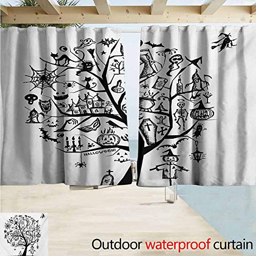 Zmacdk Halloween Curtains for Bedroom Sketchy Spooky Tree with Spooky Design Objects and Wicked Witch Broom Abstract Great for Living Rooms & Bedrooms W63 xL72 Black White]()