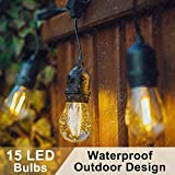 Waterproof Outdoor LED String Lights, 15 E27 Hanging Sockets, 33ft Long Festoon Lights - Perfect for Garden, Yard, Cafe, Home, Christmas, Party, Wedding Decoration (16 2W LED Bulbs Included)
