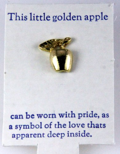 6030239 Golden Apple Lapel Pin Brooch Teacher Gift Present Appreciation