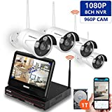 [All-in-One&Expandable System] Security Camera System Wireless,SMONET Full HD 8CH 1080P Video Security System with 1TB HDD,4pcs 960P Wireless IP Cameras,with 10.1inches Monitor,P2P,Easy Remote View For Sale