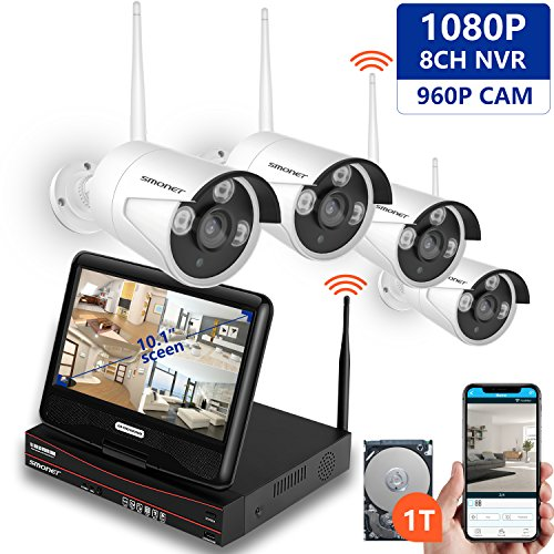 - [All-in-One&Expandable System] Security Camera System Wireless,SMONET Full HD 8CH 1080P Video Security System with 1TB HDD,4pcs 960P Wireless IP Cameras,with 10.1inches Monitor,P2P,Easy Remote View