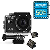 FREDI Action Camera 4K WIFI Sports Action Camera Ultra HD Waterproof DV Camcorder 16MP 170 Degree Wide Angle with Portable Package(without SD card)