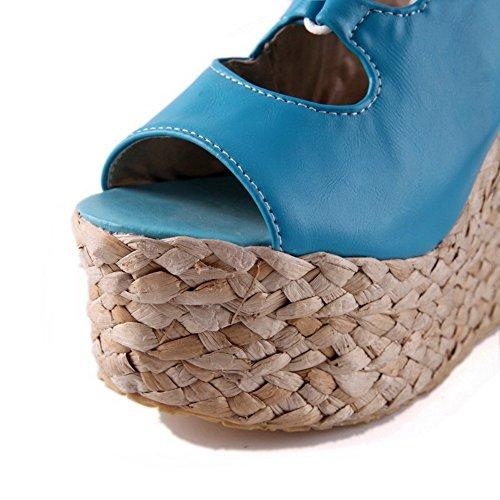 AllhqFashion Mujeres Cuero Sólido Velcro Peep Plataforma Sandalia Azul