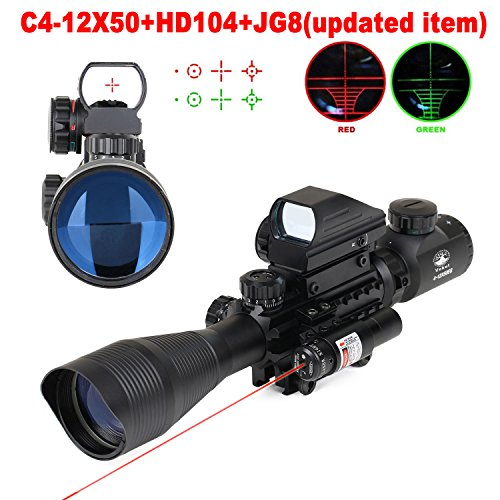 Vokul-Tactical-Rifle-Scope-4-12x50EG-Dual-Illuminated-Gun-Scope-and-4-Tactical-Multi-Optical-Coated-Holographic-Red-and-Green-Dot-Sight-for-Hunting-W-22mm-Rail-Mount