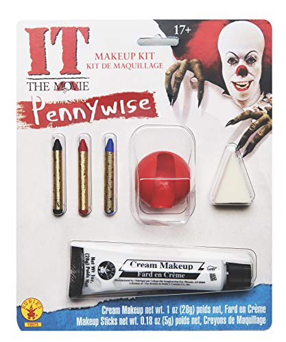 Pennywise Halloween Makeup (Rubie's Men's It Pennywise Adult Make-Up Kit, Multi, One)