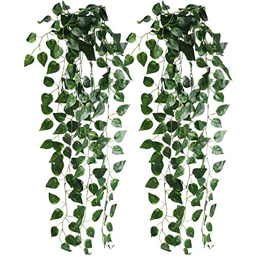 (XYXCMOR Artificial Greenery Plants 2pcs Fake Hanging Plants Silk Scindapsus Vine Leaves for Jungle Party Indoor Outdoor Shelve Wall Wedding Decor)