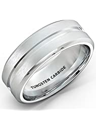 Mens Wedding Bands White 8mm Tungsten Ring Brushed with Center Groove and Beveled Edges