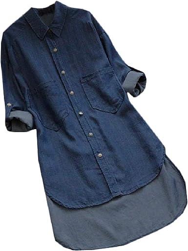 DressUWomen Recorte de bolsillo de gran tamaño varios hem vaquero camisa de vestir para Mujers: Amazon.es: Ropa y accesorios