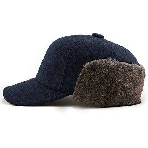 Winter Baseball Cap with Ear Flap Hats Men Hunting Cold Weather Fitted Earflap Hats Wool L XL