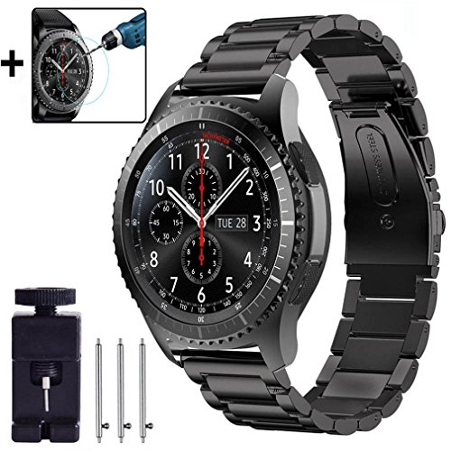 For Samsung Gear S3 Frontier / Classic Band, Olytop 22mm Stainless Steel Metal Bands Replacement Strap Band Bracelet + Screen Protector for Gear S3 Frontier/ Classic Smartwatch (Large Metal - You Glasses Adjust How Do Frames