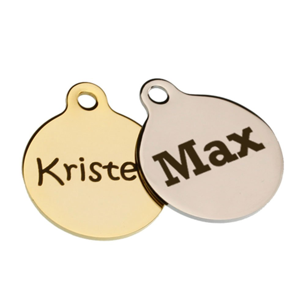 dogIDs Signature Name Dog ID Tags- Personalized Laser Engraving - Includes Matching S-Hook and Split Ring