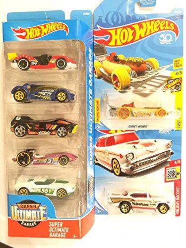 Die cast vehicle Hot Wheels Super Ultimate Garage 5-Pack: Imparable,Iridium, Night Burner, Duel Fuel and Fast Fish & BONUS: HOT WHEELS VALENTINES '57 CHEVY & 50th anniversary Street Weiner -