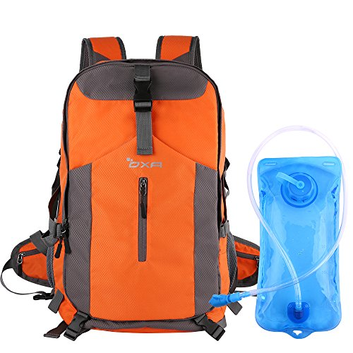 OXA 40L Hydration Backpack, Daypack Perfect for Camping, Hiking, Running, Cycling, Biking, Climbing, Hunting, Traveland Outdoor Activities,2 L Water Bladder Included, Sewn-in Rain Cover (Orange) Review
