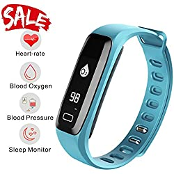 READ Smart Watch, Fitness Tracker, R6.PRO Heart Rate Monitor Blood Pressure Bracelet Pedometer Activity Tracker Sleep Monitoring Call SMS SNS Remind Watch for Android IOS (blue)