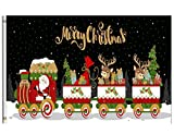 Wamika Winter Flag 5×8 FT Merry Christmas Funny Santa Claus Train Berry Elk Deer Gifts Snowflakes Garden Yard House Flags Banner with Brass Grommets Indoor Outdoor Party Home Christmas Decorations For Sale