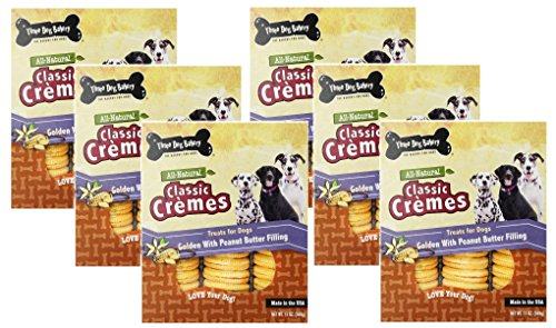 Three Dog Bakery Classic Cremes Golden with Peanut Butter Filling Baked Dog Treats 13 Ounce Each (6 Pack) Review