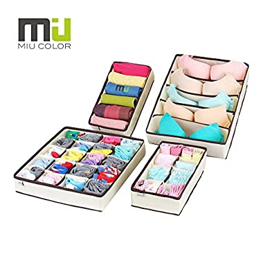 MIU COLOR Drawer Organizer, Closet Organizer Bra Underwear Drawer Divider 4 Set Beige