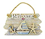 Cheap Puzzled Rustic Wooden Welcome Sign Decorative Wall Door Decoration Intricate & Meticulous Detailing Wood Art Handcrafted Hand-Painted Decor Nautical Coastal Beach Theme Home Kitchen Accent Accessory