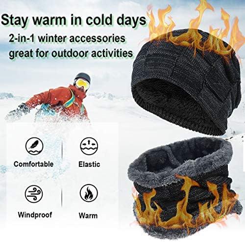 HASAGEI Gorro de invierno de punto, gorro cálido y bufanda con forro polar, unisex, para hombre y mujer