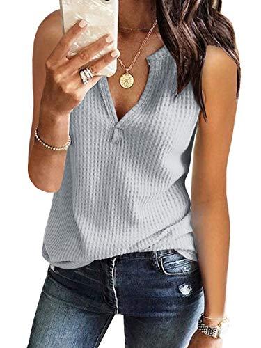 Womens Tank Tops V Neck Waffle Knit Summer Casual Sleeveless Loose Tee Shirts