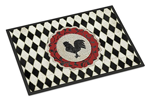 Caroline's Treasures Rooster Harlequin Black and White Indoor or Outdoor Mat, 18