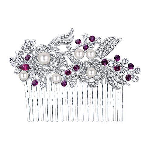 (EVER FAITH Austrian Crystal Cream Simulated Pearl Flower Leaf Vine Hair Comb Purple Silver-Tone)