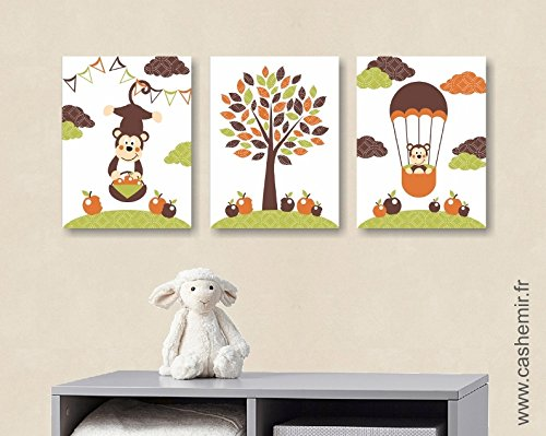Affiches Décoration Chambre Bébé Garçon Illustration Poster Enfant  Décoration Murale Singe Pomme Arbre Vert Marron Orange