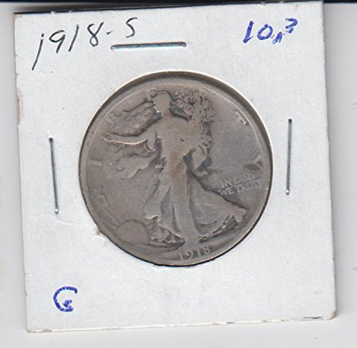 Dollar Half 1918 Silver (1918 S Walking Liberty Average Circulated Half Dollar Good)