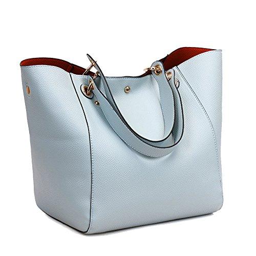 light blue leather handbags - 9