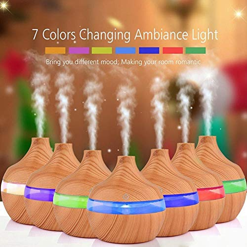 Eletric Wood Grain Ultrasonic Essential Oil Diffuser Cool Moisture Aroma Humidifier Electric Air Freshener with 7 Color Changing Nightlights for Home & Ofiice Light Wood by BleuMoo (Image #6)