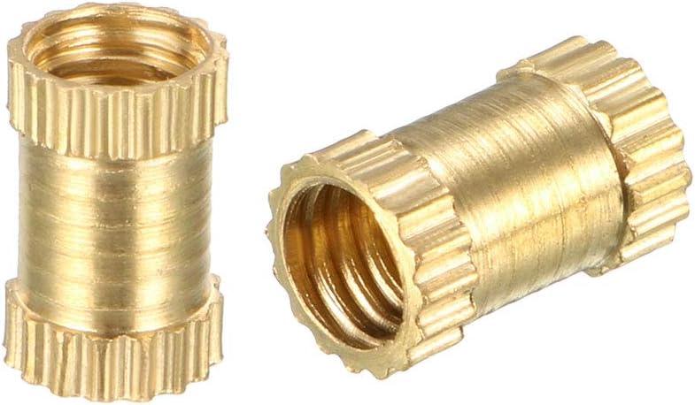 Messing OD x 5mm sourcing map 100 St/ück R/ändelschrauben mit Gewindeeins/ätzen M4 x 4mm L