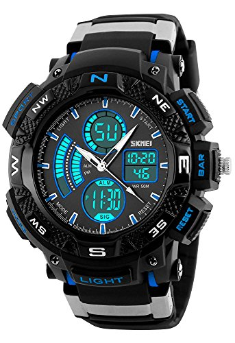 Men's Big Face Multifunction Outdoor Sports Electronic LED Digital Military Watch 50m Waterproof (Blue) (Black Metal Face Band Zone)