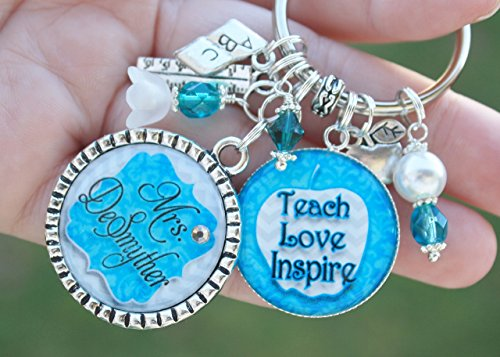 Chevron Teacher 100th day of school Gift End of School year Teach Love Inspire teacher personalized keychain Necklace retirement graduate sentimental unique]()