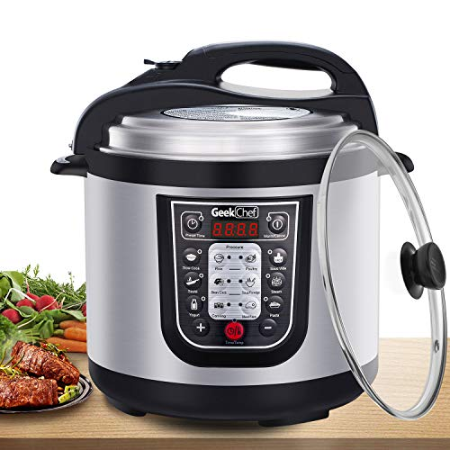 Geek Chef 6 Qt Multiuse Electric Pressure Cooker, Stainless Steel Inner Pot, 12 Presets Programmable Multicooker, Sous Vide Cooking Mode, Rice Cooker, Saut, Yogurt Maker and Keep Warmer for 24 hs and Delay Start