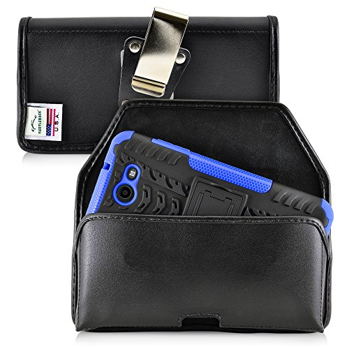 Turtleback Belt Case Compatible with Samsung Galaxy J7 2017 Prime Perx Halo w/Bulky Case Black Holster Leather Pouch with Heavy Duty Rotating Ratcheting Belt Clip Horizontal Made in USA