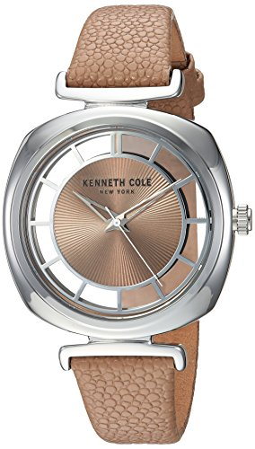 Kenneth Cole New York Women's 'Transparency' Quartz Brass-Plated-Stainless-Steel and Leather Dress Watch, Color:Brown (Model: KC15108005)