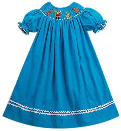 Babeeni Hand Smocked Dress With Santa Claus, Christmas Tree and Reindeer Pattern In Aqua Corduroy For Baby (5Y) (Smocked Christmas Newborn Dresses)