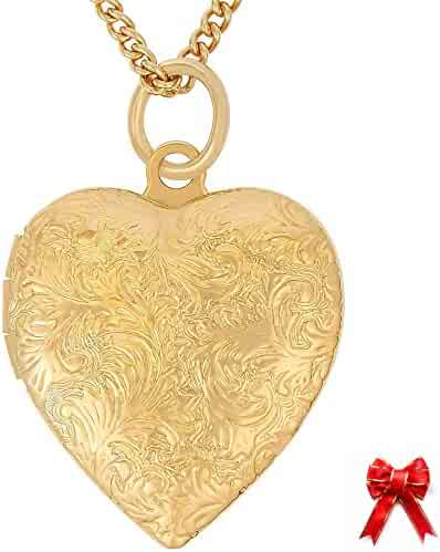 Lifetime Jewelry Heart Locket, Antique Finish, 24K Gold Laid Over Semi-Precious Metals, Keep your Memories Close, Pendant Necklace for Women or Girls, Keepsake for Photos, Pictures, 18 Inch Chain