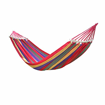 Cotton Striped Foldable Hammock (for Single Person)/Hanging Bed for Camping & Outdoor Activities (197 cm x 80 cm)