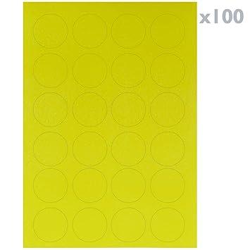 BeMatik - Etiquetas Redondas Adhesivas Amarillas para Impresora A4 ...