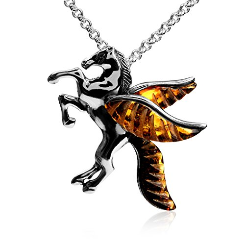 Ian and Valeri Co. Amber Sterling Silver Pegasus Pendant Necklace Chain -