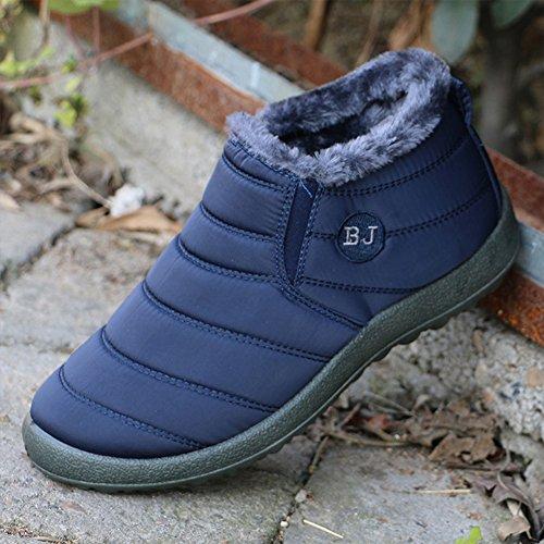 JOINFREE Unisex Warm Plüsch Futter Slip On Flat Ankle Schnee Stiefel Winter Warme Schuhe Dunkelblau