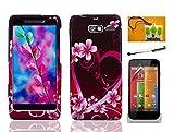 LF Designer Hard Case Cover, Stylus Pen, Screen Protector & Wiper For Verizon Motorola Droid Razr M XT907 Razr i XT890 (Designer Purple Heart)