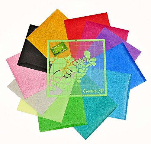 "Glitter Heat Transfer Vinyl Iron on - 12 HTV Sheets 12x10"" for Cricut & Silhouette - Bundle for T shirts, Fabrics and Hats + Starter Kit eBook and BONUS 1 StandardGrip Cutting Mat (Glitter 12x10"")"