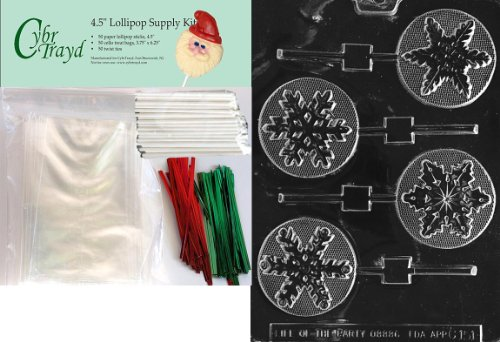 Christmas Lollipop Chocolates - Cybrtrayd 45stK50C-C151 Assorted Snowflakes Lolly Christmas Chocolate Mold with Lollipop Kit, Includes 50 Lollipop Sticks, 50 Cello Bags, 25 Red and 25 Green Twist Ties