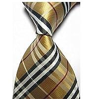 Dash Luxury Silk Jacquard Woven Necktie in Checks Camel Red White