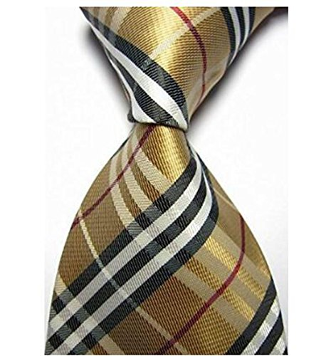 Syhonic Silk Jacquard Woven Necktie in Checks Camel Red - Burberry Usa Bags