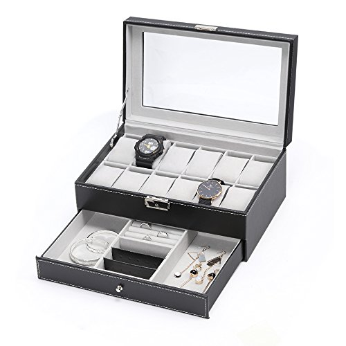 NEX Watch Box,12 Slot Double-Layer PU Leather Case Organizer with Jewelry Tray Drawer for Storage and Display (11.8'' x 7.8'' x 5.1'') by NEX