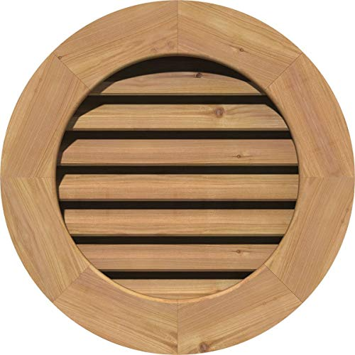Ekena Millwork GVWRO26X2601SFUWR Unfinished, Functional, Smooth Western Red Cedar with 1-Inch x 4-Inch Flat Trim Round Gable Vent 31-Inch x 31-Inch Frame Size, 26-Inch x 26-Inch (Renewed)