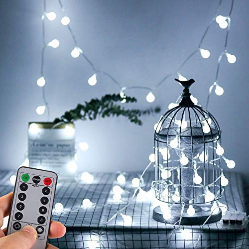 WERTIOO Battery Operated String Lights 33ft 100 LEDs Globe Christmas Lights with Remote Control for Outdoor/Indoor Bedroom,Garden,Christmas Tree[8 Modes,Timer ] (White) -